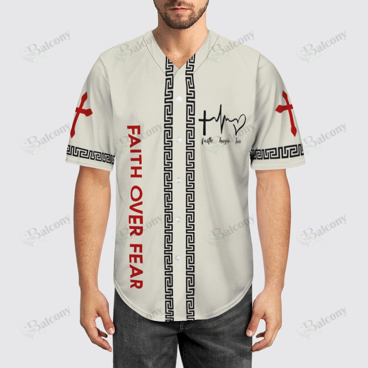 Faith Over Fear Jesus Baseball Jersey shirt