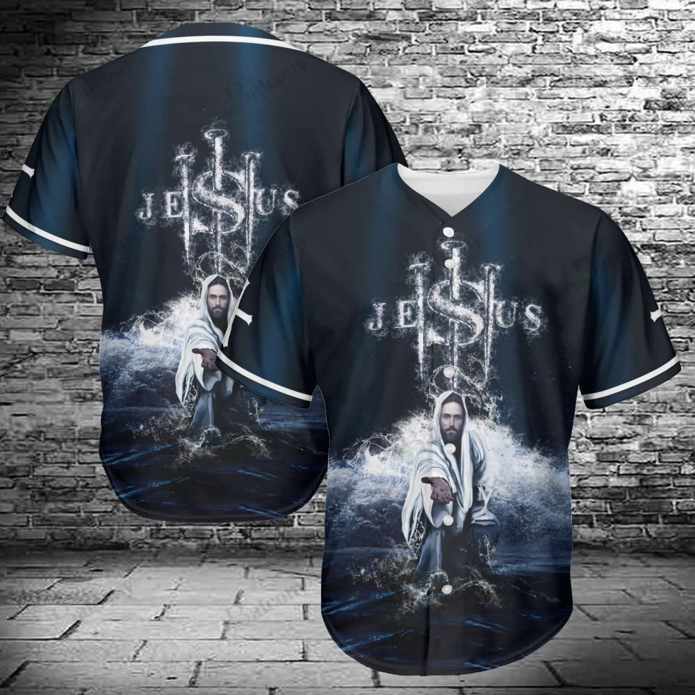 Jesus give the hand Ocean Wave Baseball Jersey shirt
