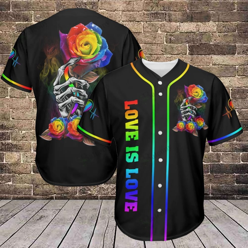 LGBT Skull Hand with Flower Love is Love Baseball Jersey shirt