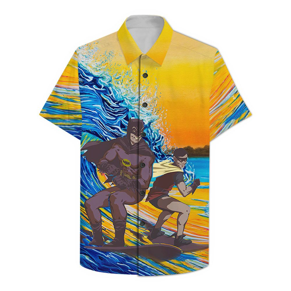 Batman and Robin Surfing Hawaiian Shirt and Summer Shorts