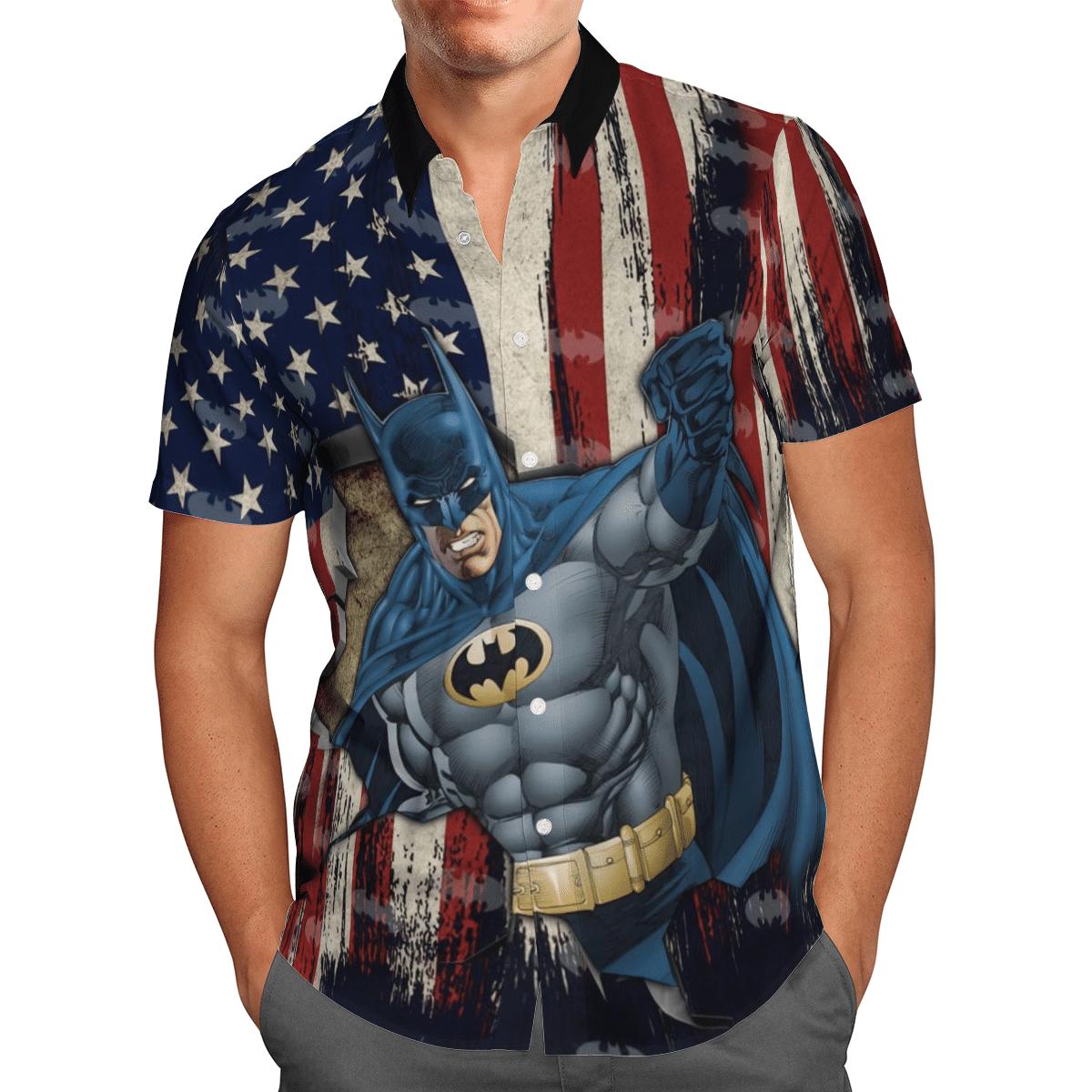 American Flag with Batman Hero Hawaiian Shirt