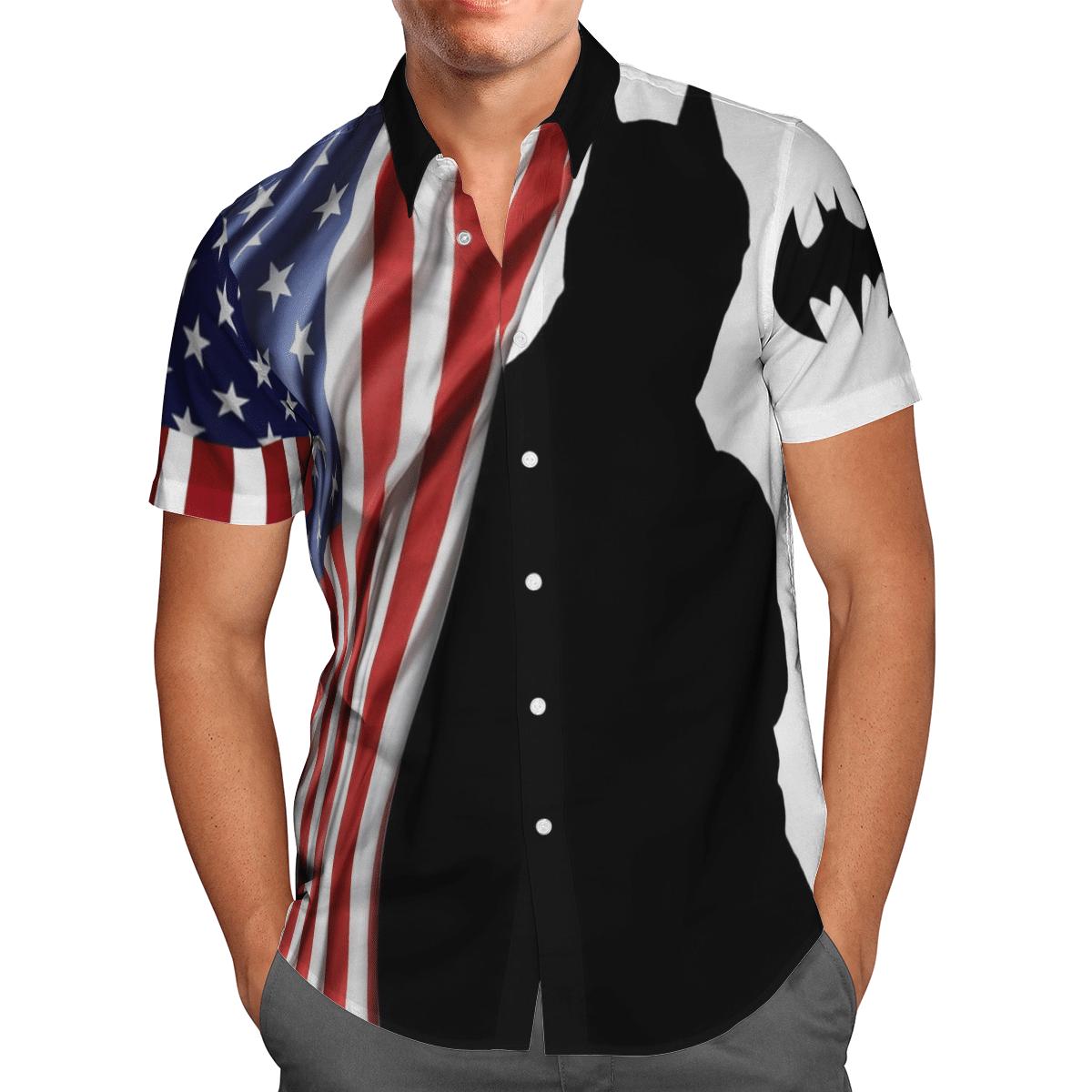 US flag and Batman Shadow Hawaiian Shirt