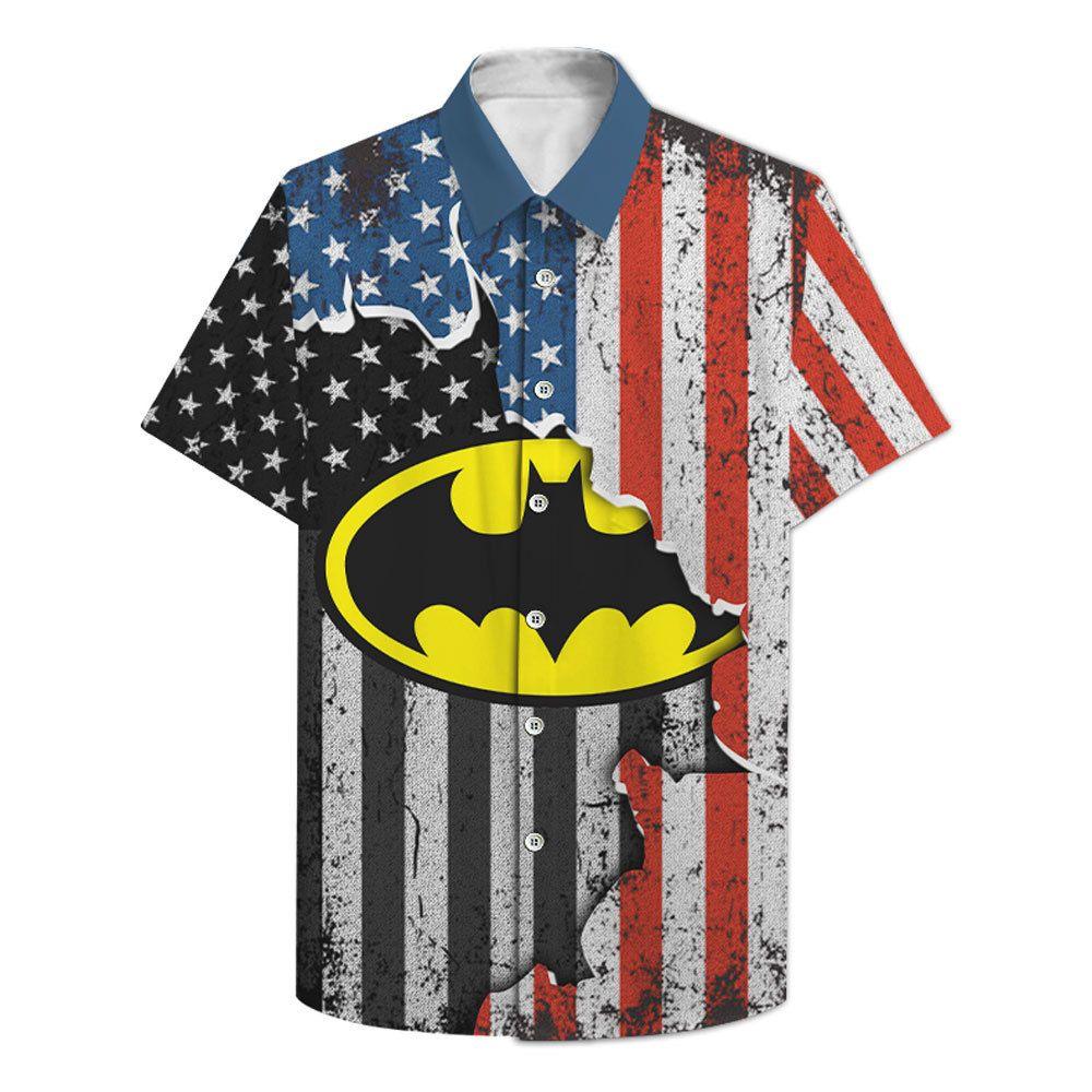 US flag Batman Logo Hawaiian Shirt 3D T shirt