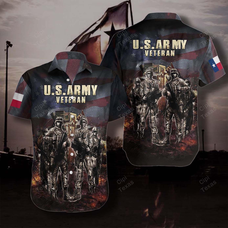 US Army Veterans Camouflage Texas Hawaiian Shirt
