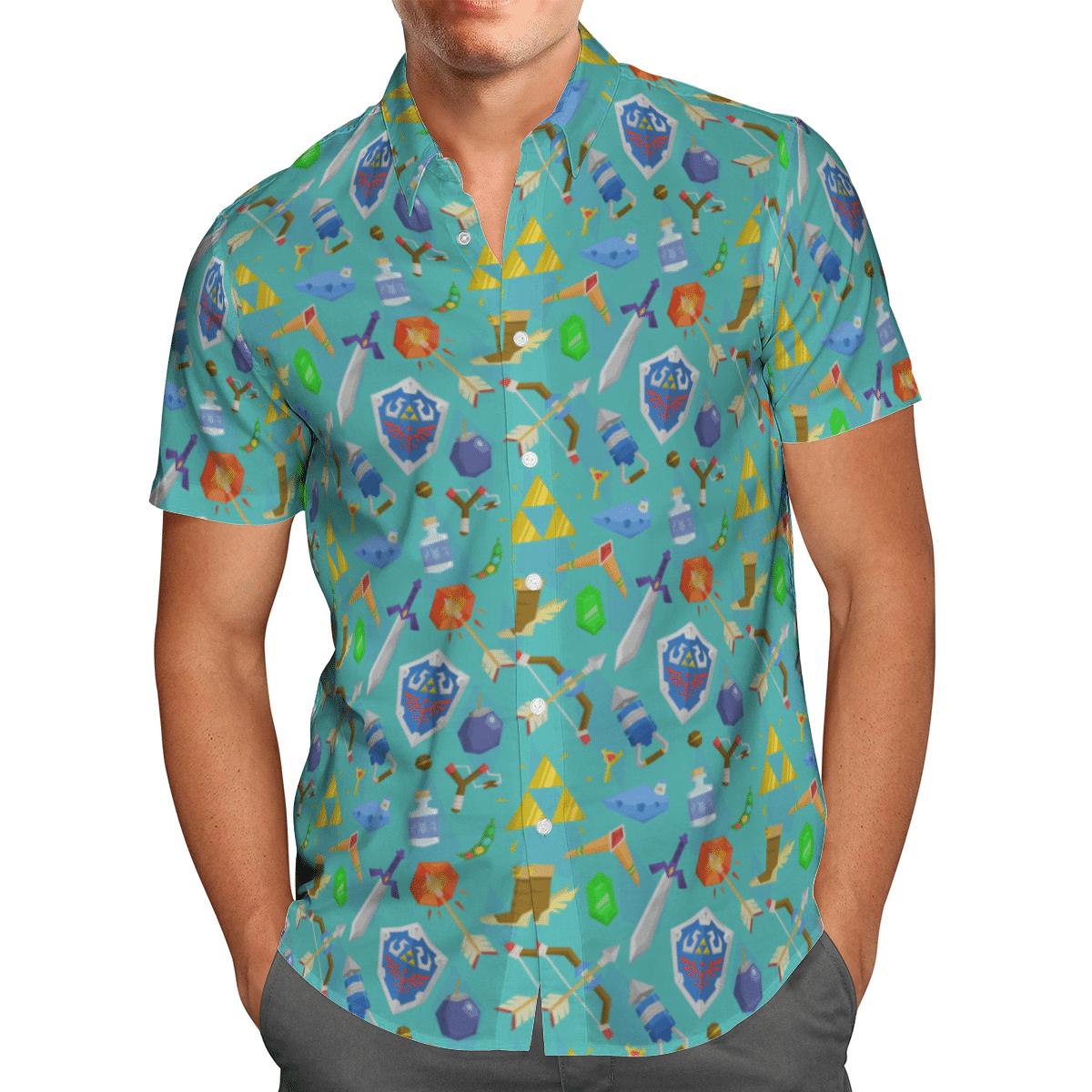Zelda Item Pattern Hawaiian Shirt