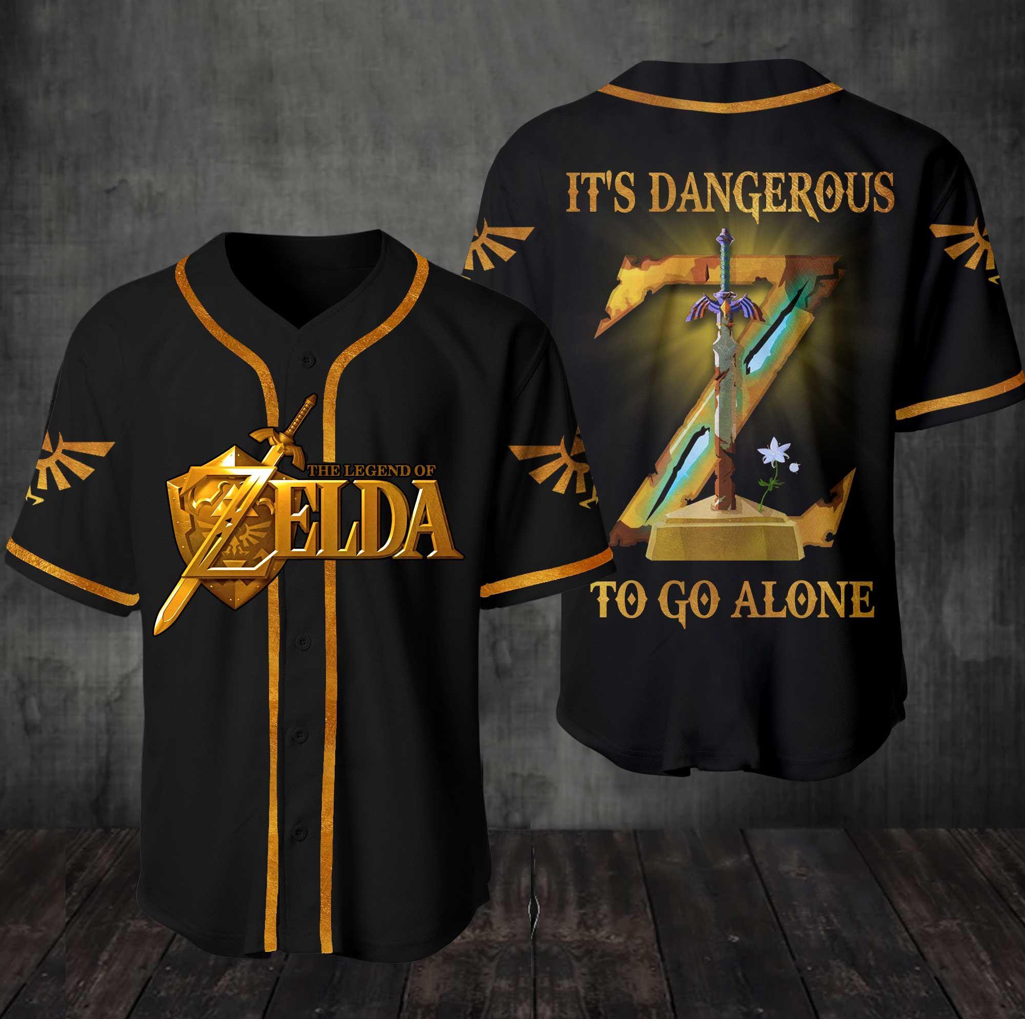 The Legend Of Zelda Its Dangerous To Go Alone Baseball Jersey Shirt