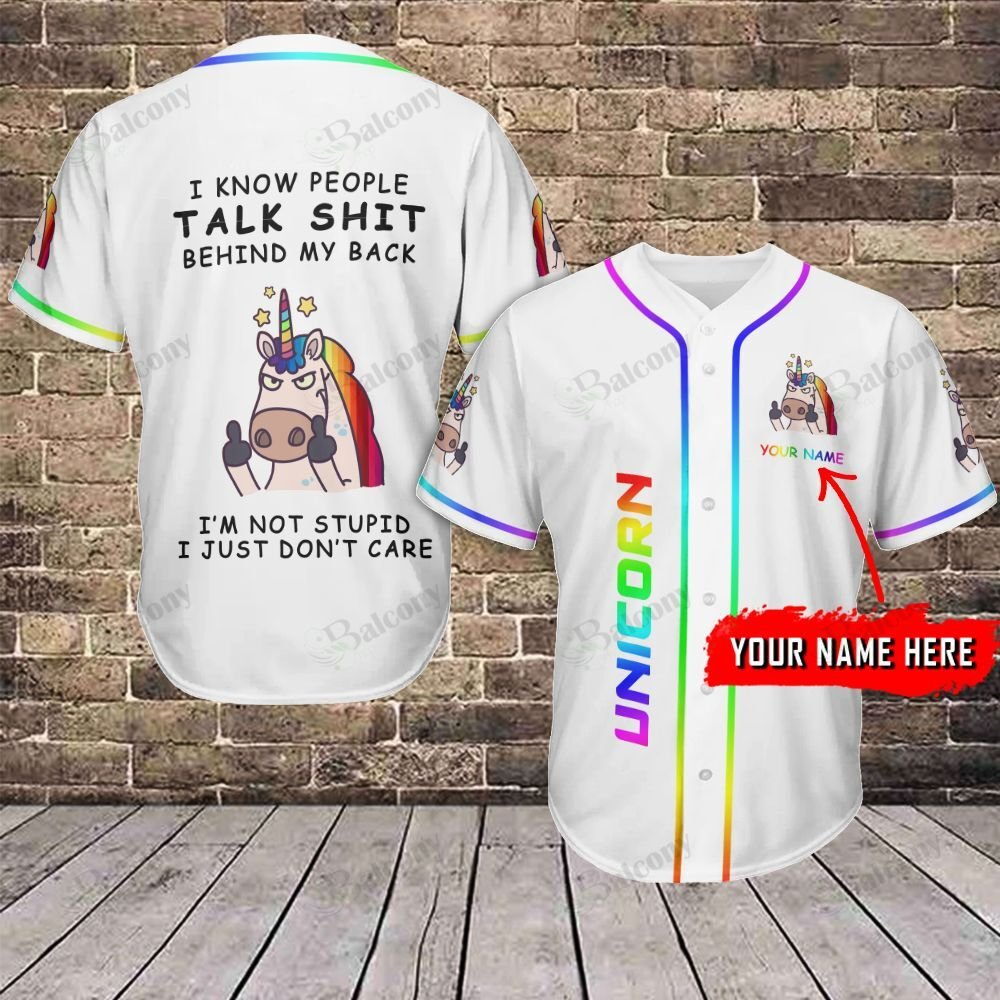 LGBT Unicorn Talk shit behind my back Custom Name Baseball Jersey shirt