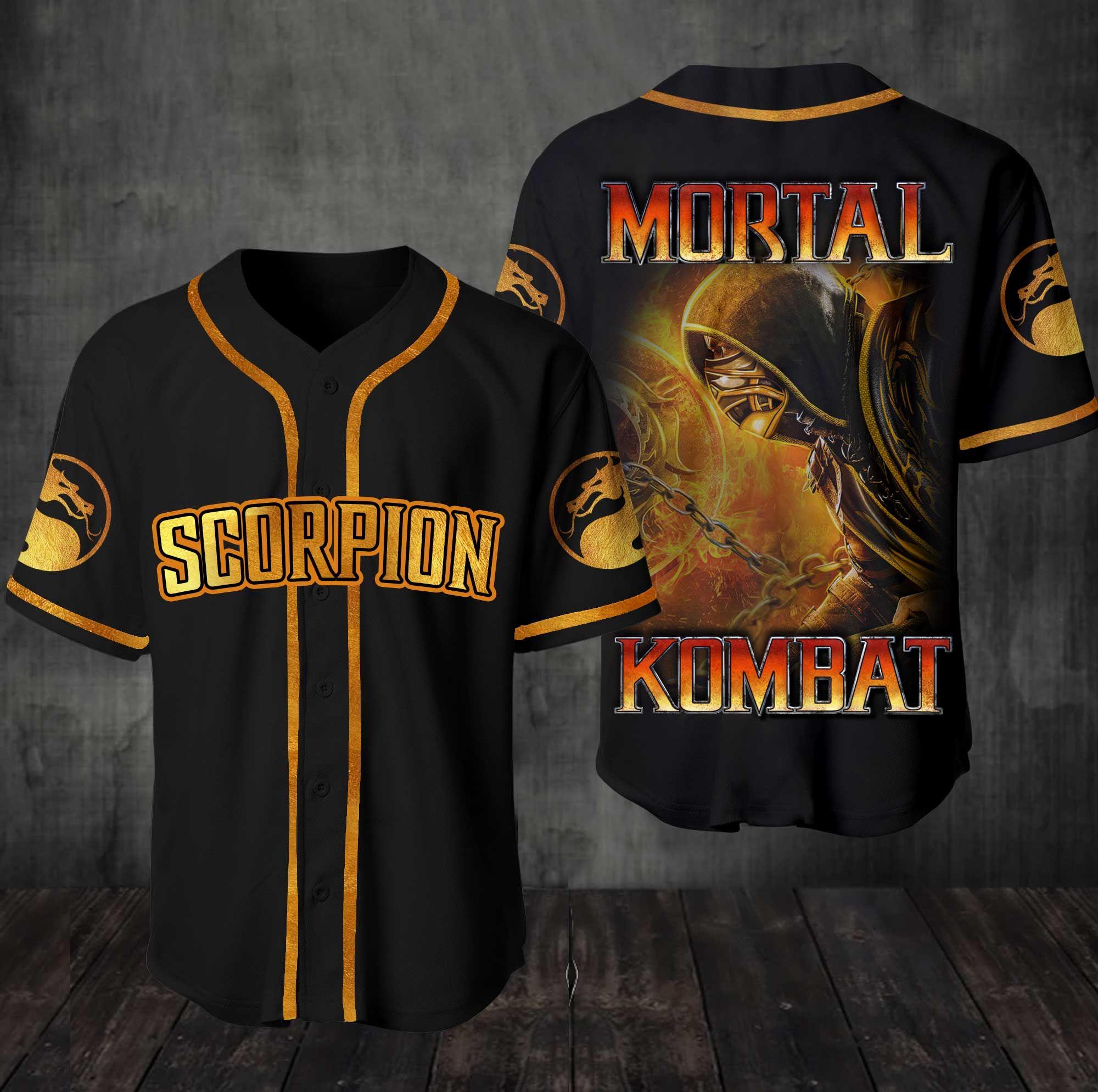 Mortal Kombat Team Scorpion Baseball Jersey Shirt