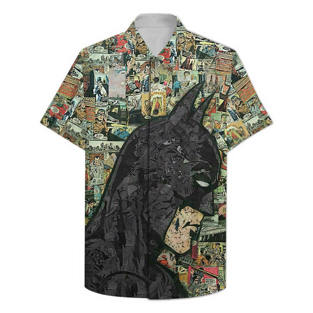Comic Batman black portrait Hawaiian Shirt