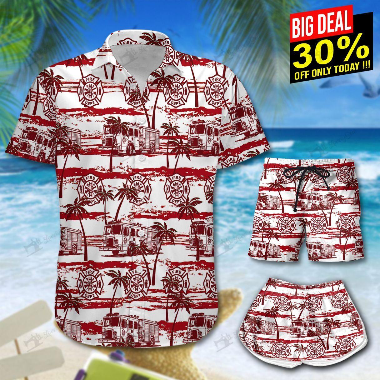 Fire Trucks Firefighter Hawaii Shirt Shorts