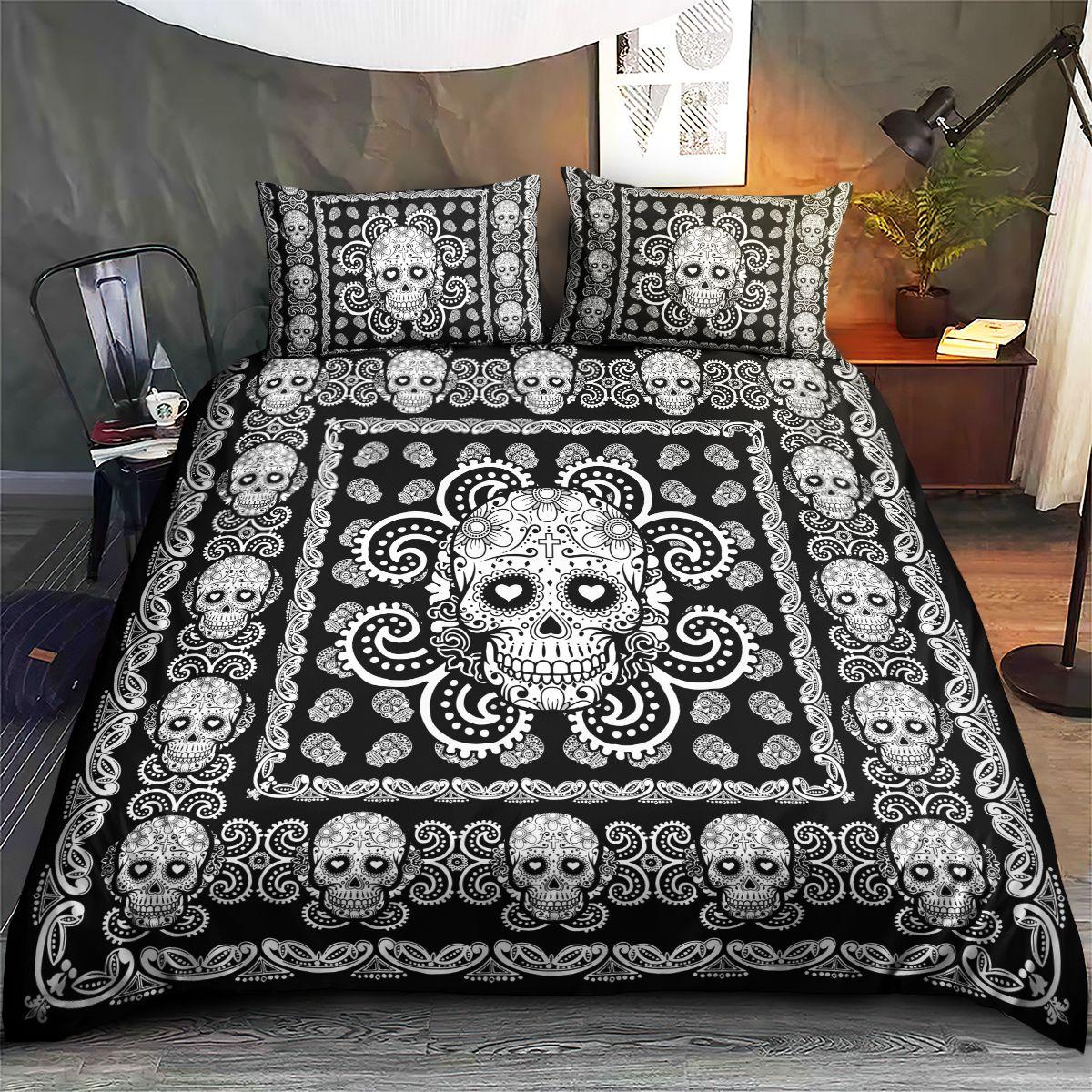 Sugar Skull Black and White Pattern Premium Bedding Set