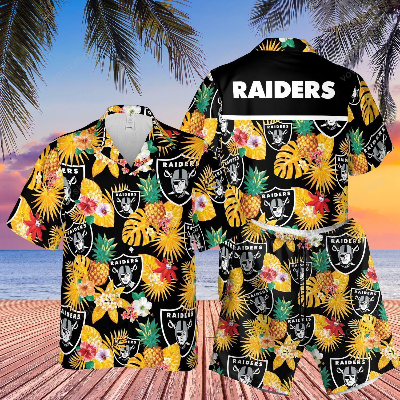 Los Angeles Raiders Tropical Hawaiian Shirt and Shorts