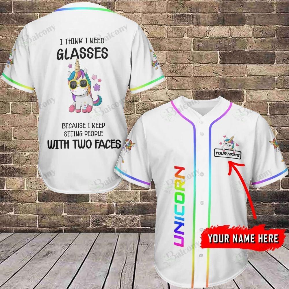 LGBT Unicorn with Glasses Personalized Name Baseball Jersey shirt