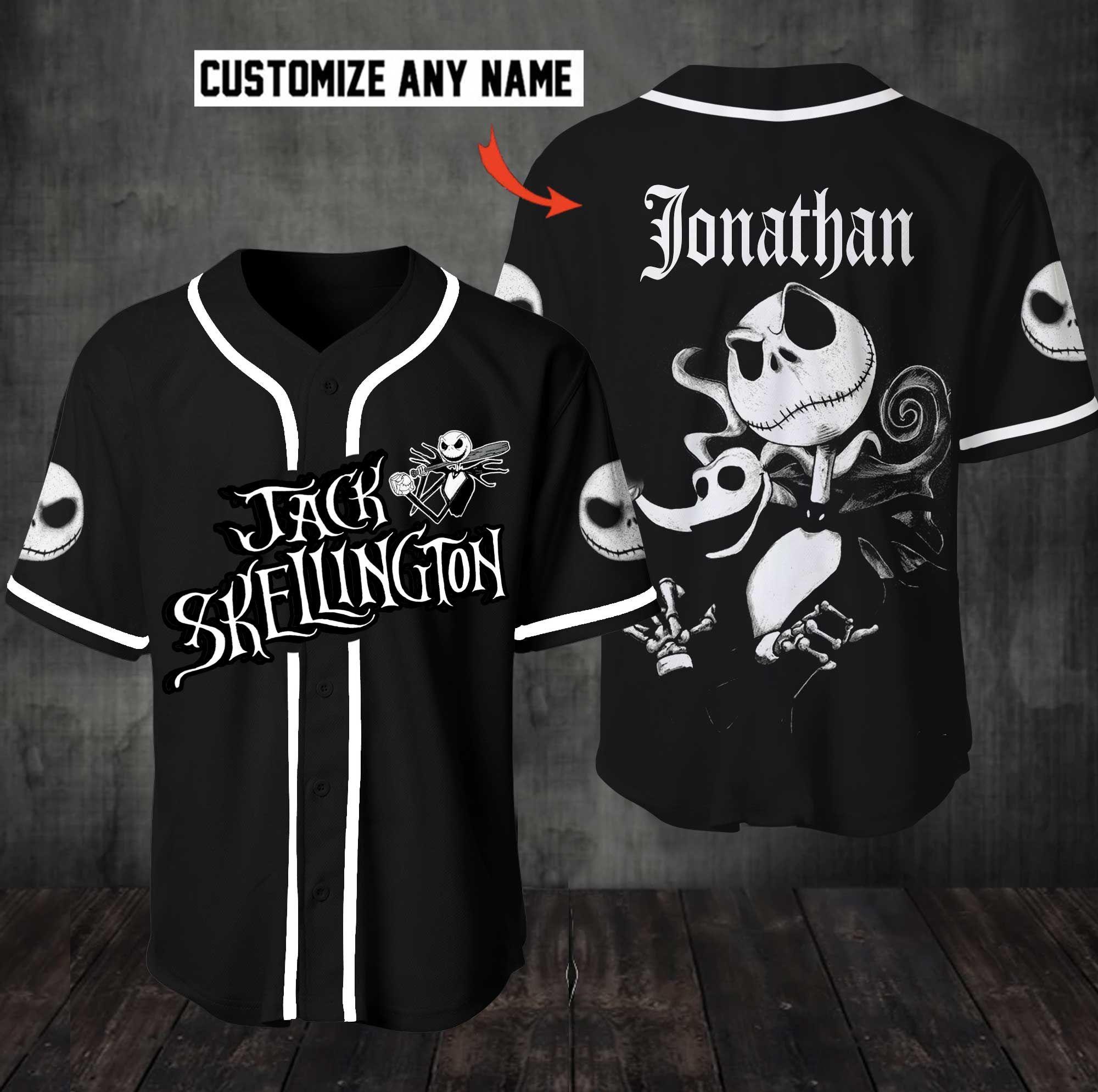 Personalized Jack Skellington Baseball Jersey Shirt