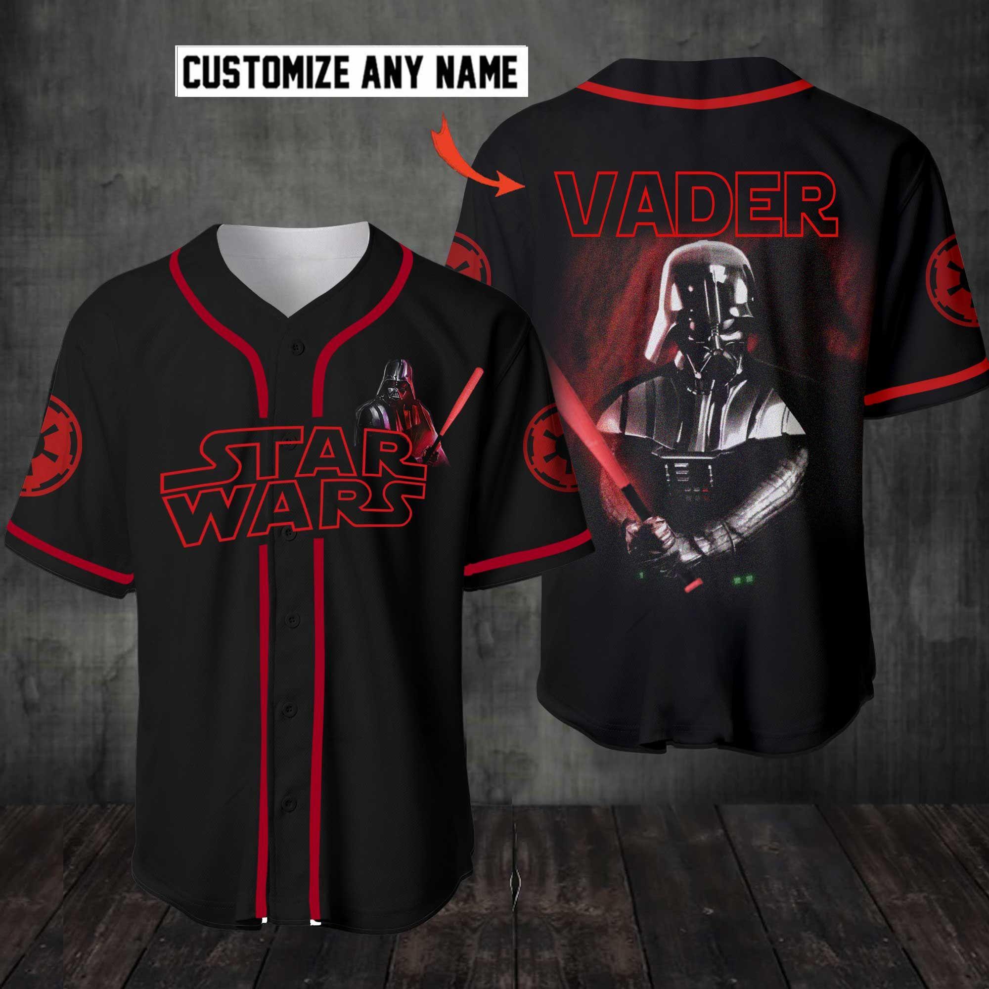 Personalized Star Wars Darth Vader Lightsaber Baseball Jersey Shirt