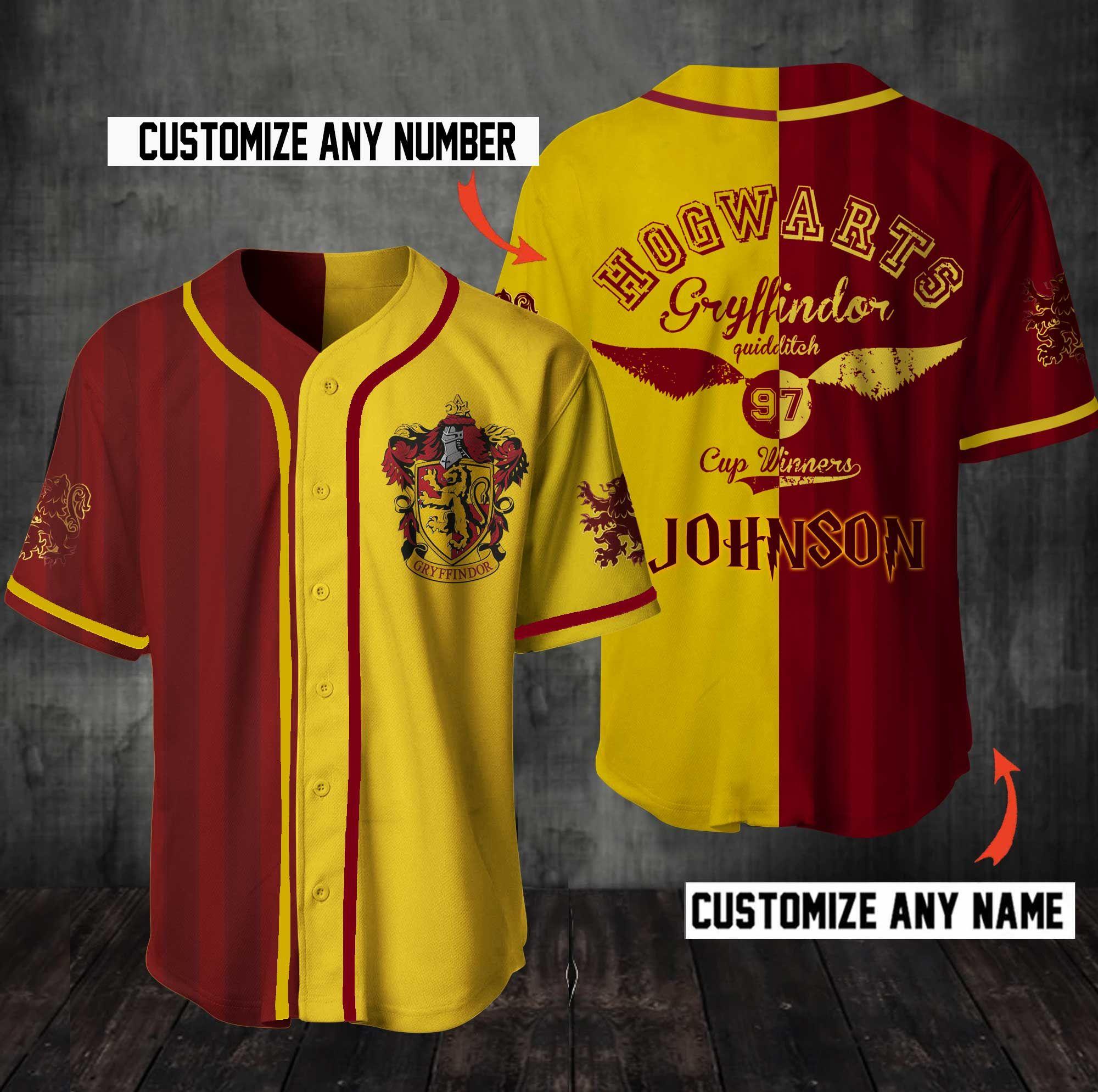 Personalized Harry Potter Hogwarts Gryffindor Baseball Jersey Shirt