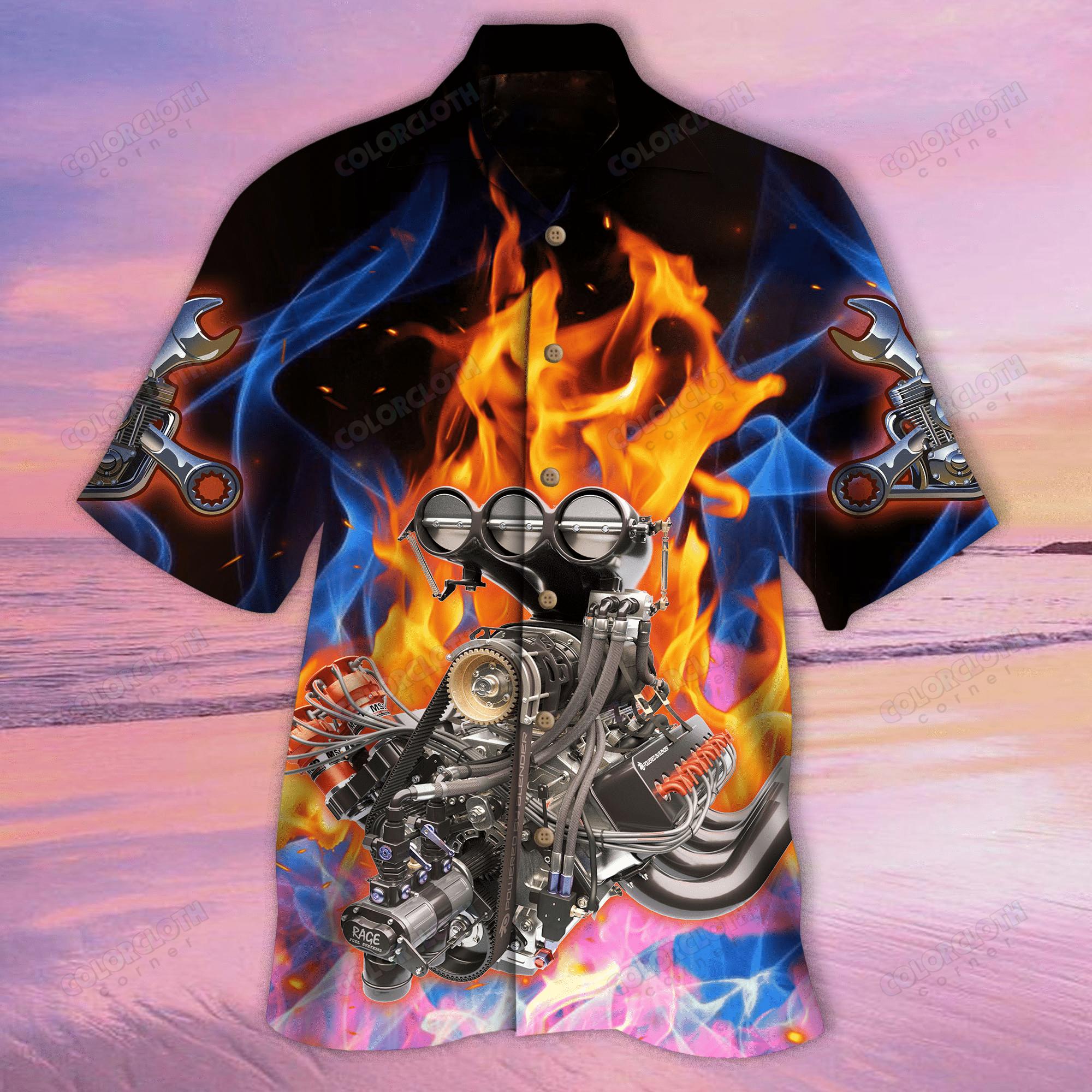Hot Rod Machine Hawaiian Shirt 02
