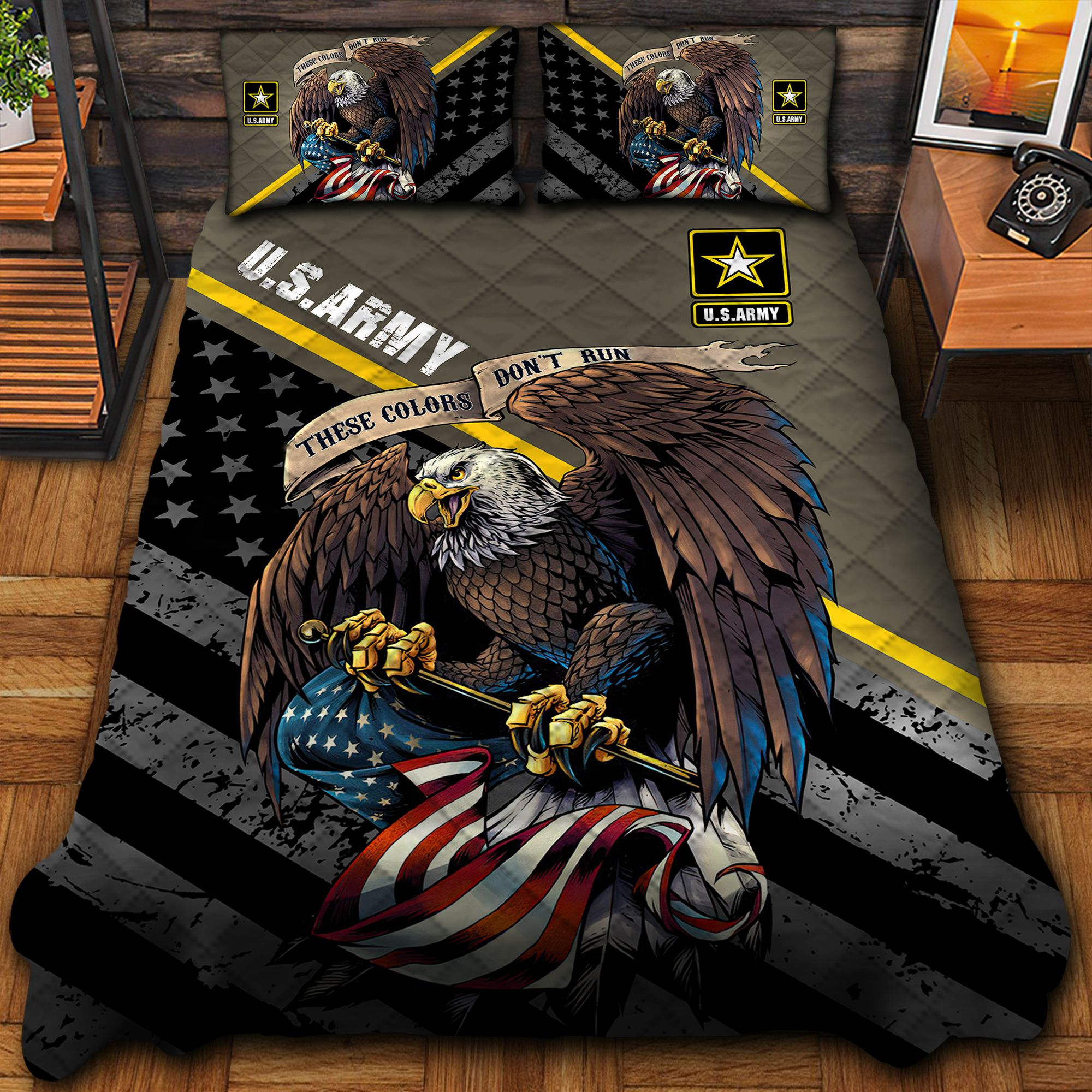 US Army Brown Quilt Bedding Set