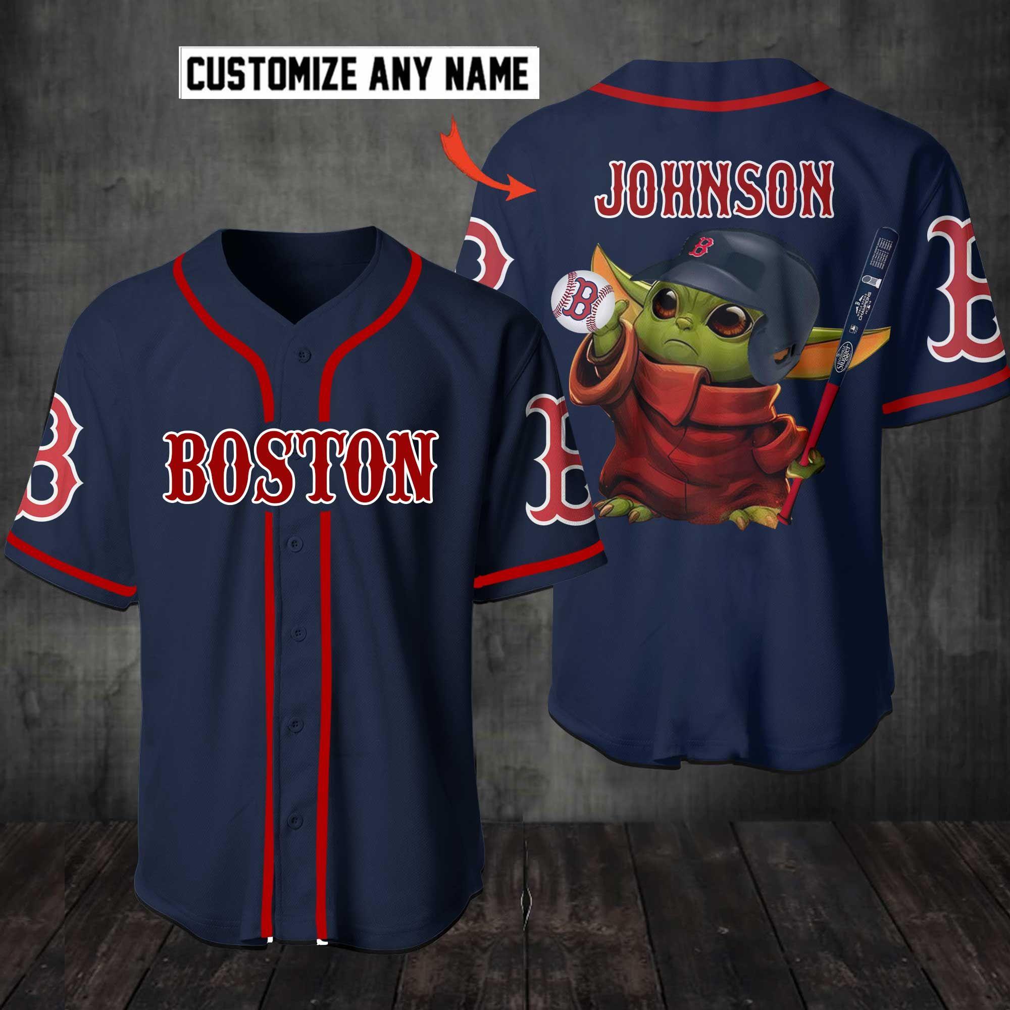 Personalized Baby Yoda Boston Red Sox Baseball Jersey Shirt