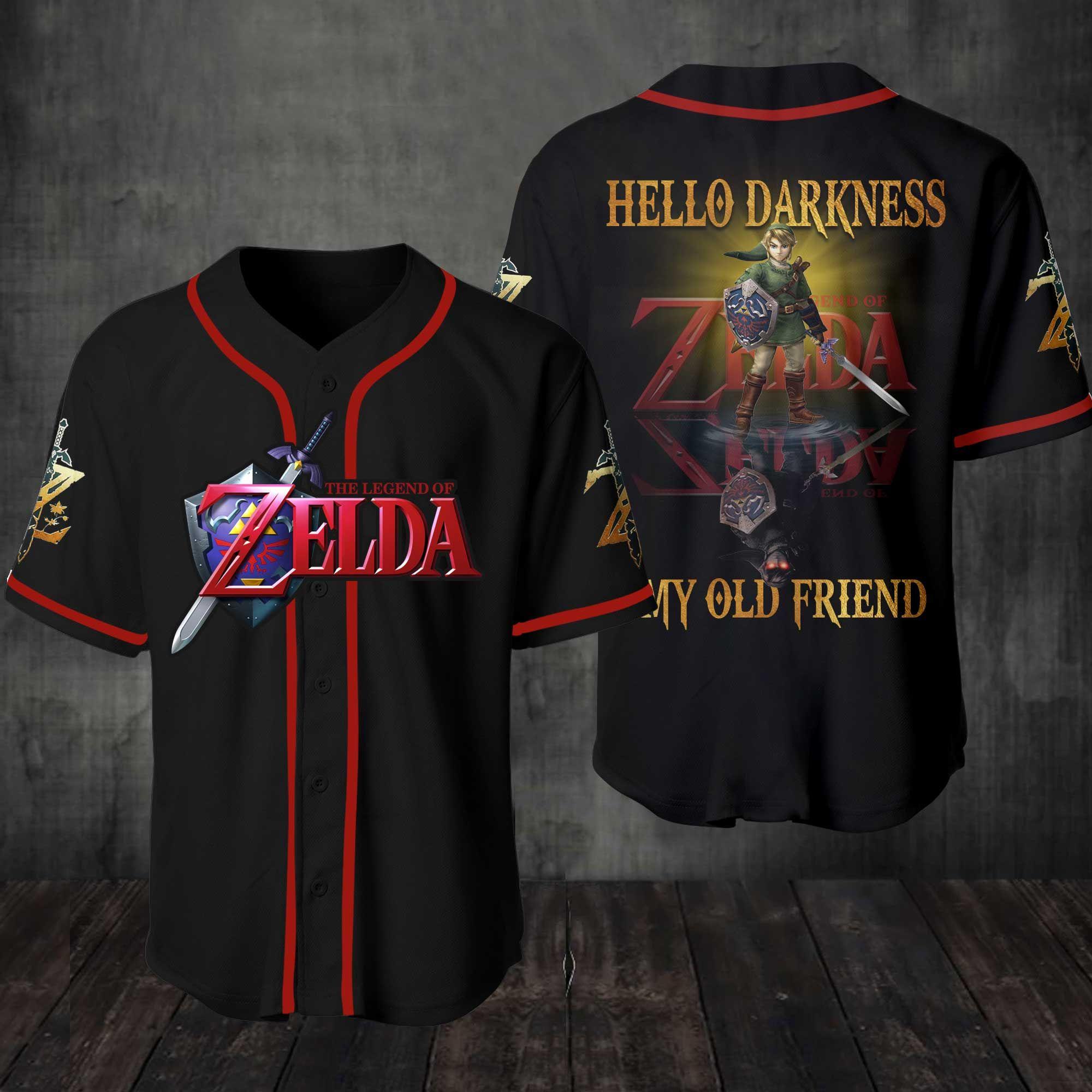 The Legend Of Zelda Hello Darkness My Old Friend Baseball Jersey Shirt