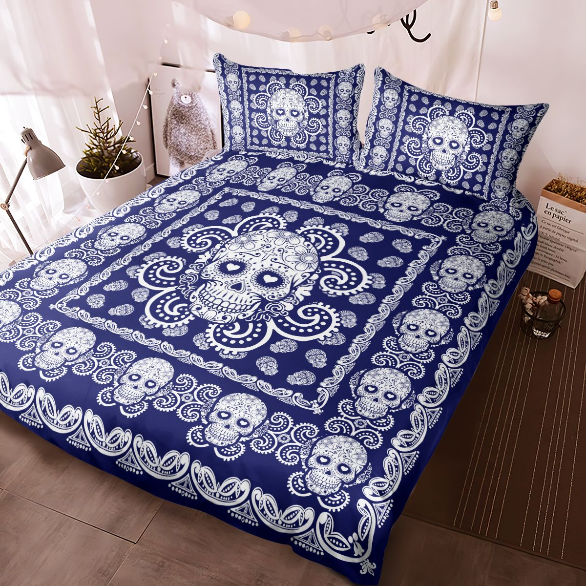 Sugar Skull Navy and White Pattern Premium Bedding Set