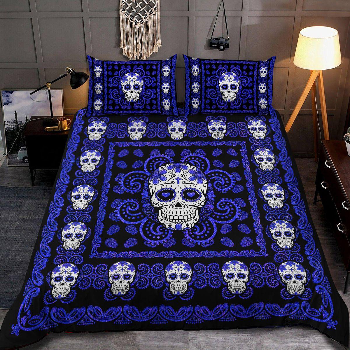 Sugar Skull Navy Pattern Premium Bedding Set