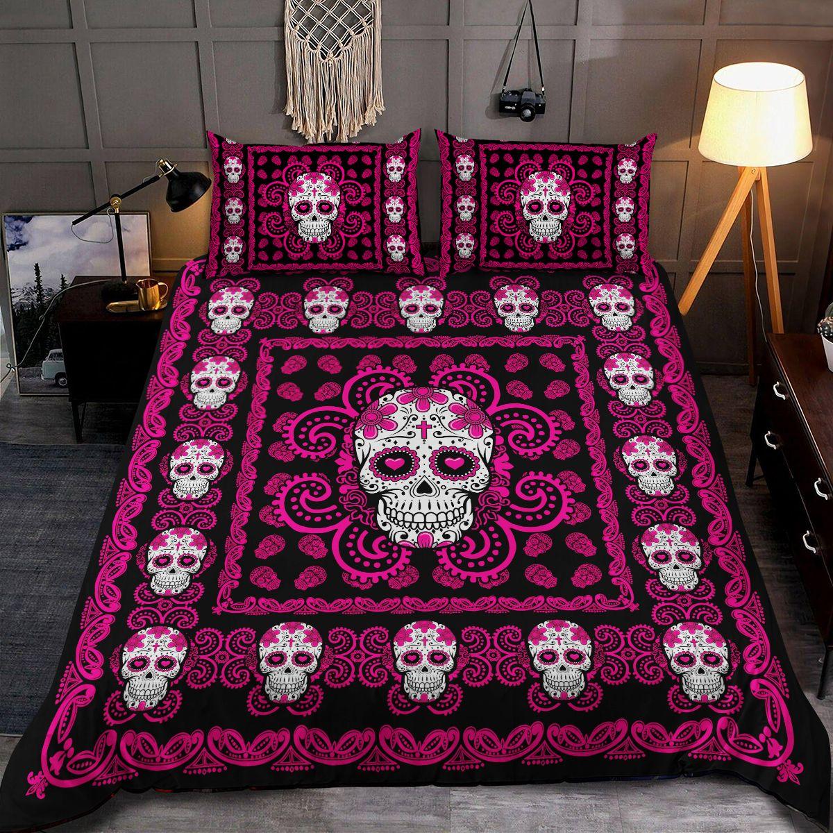 Sugar Skull Pink Pattern Premium Bedding Set