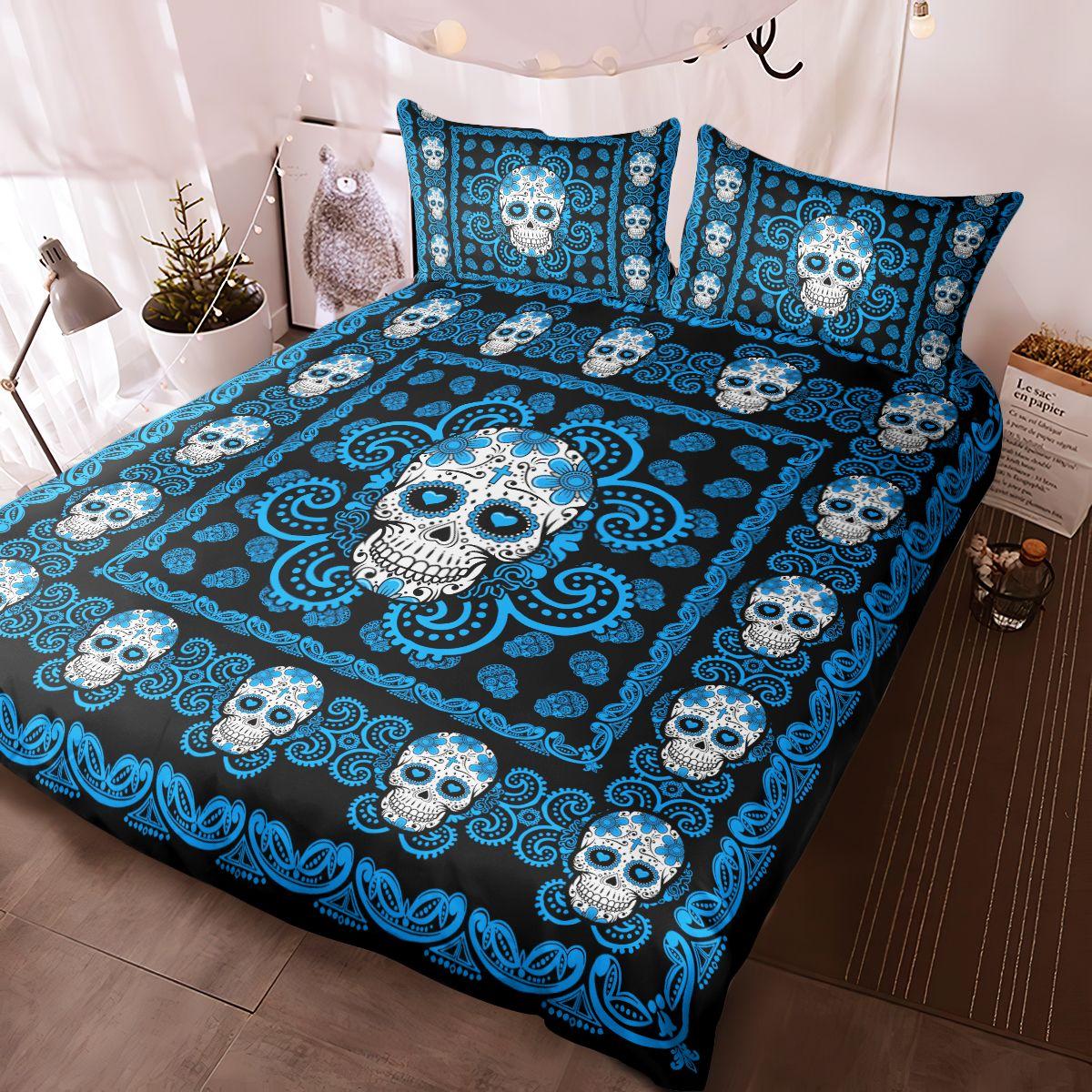 Sugar Skull Blue Pattern Premium Bedding Set