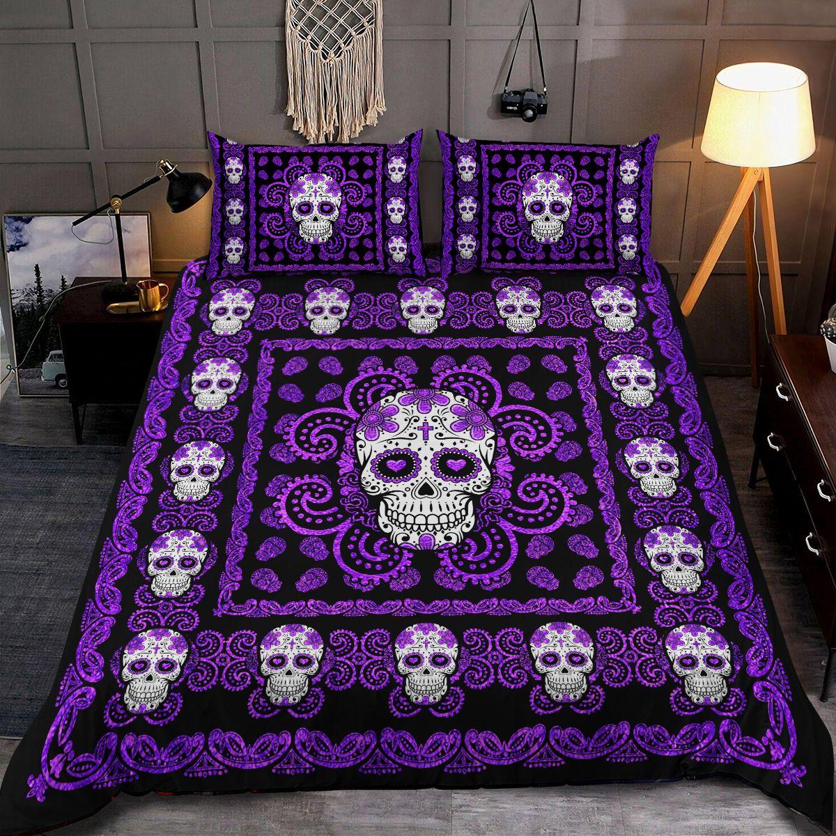 Sugar Skull Purple Pattern Premium Bedding Set