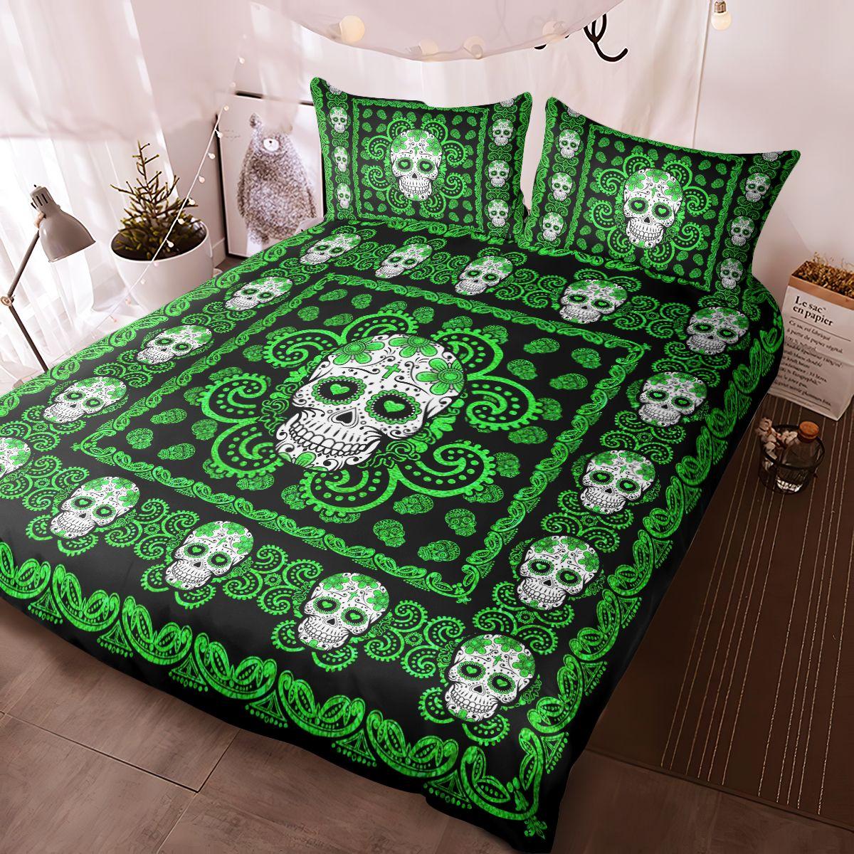 Sugar Skull Green Pattern Premium Bedding Set