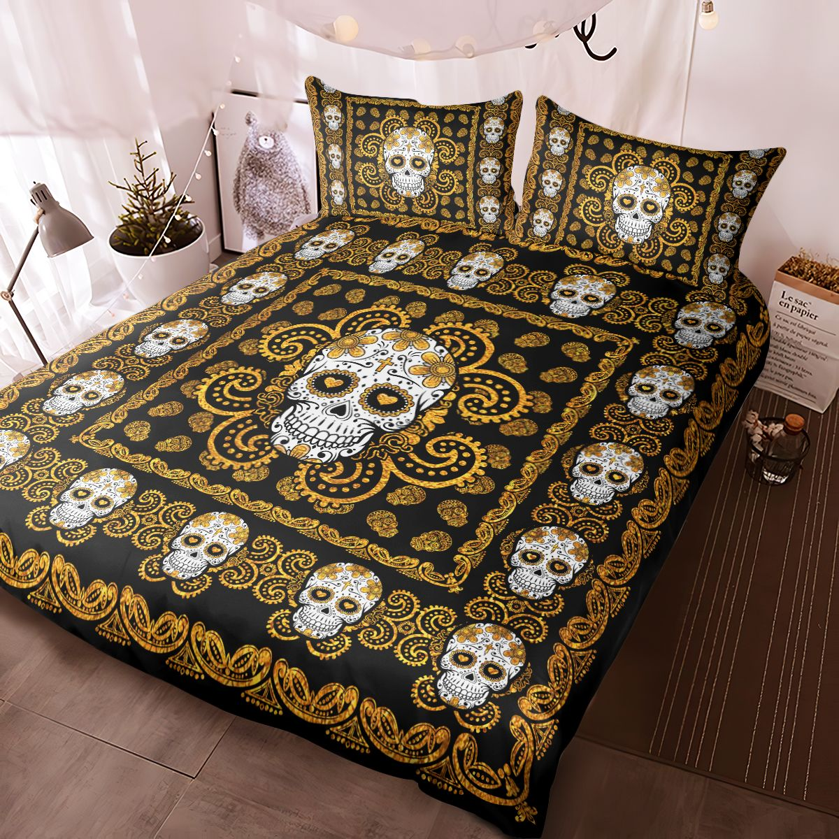 Sugar Skull Gold Pattern Premium Bedding Set