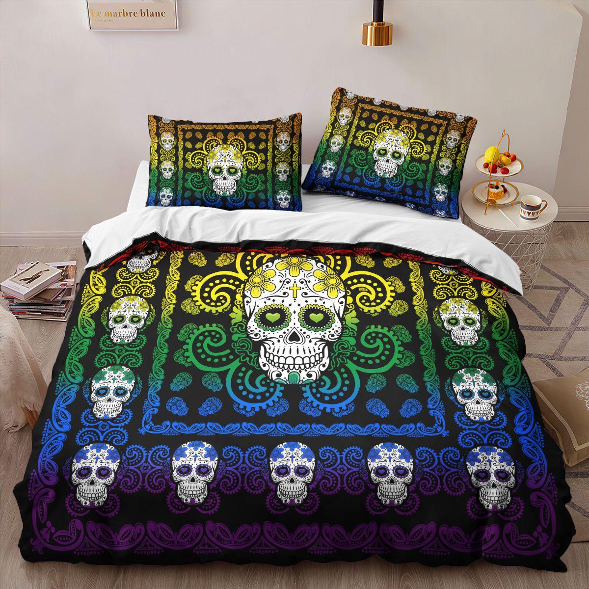 Sugar Skull Rainbow Pattern Premium Bedding Set