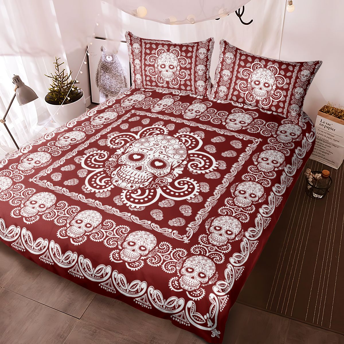 Sugar Skull Red and White Pattern Premium Bedding Set