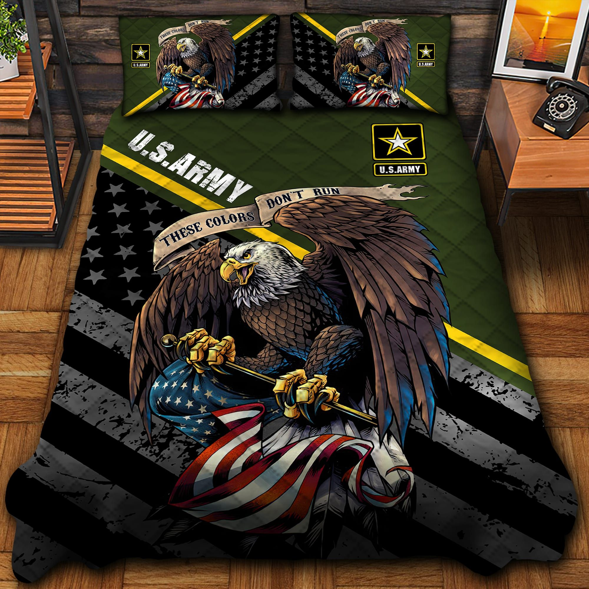 US Army Green Quilt Bedding Set Ultra Soft
