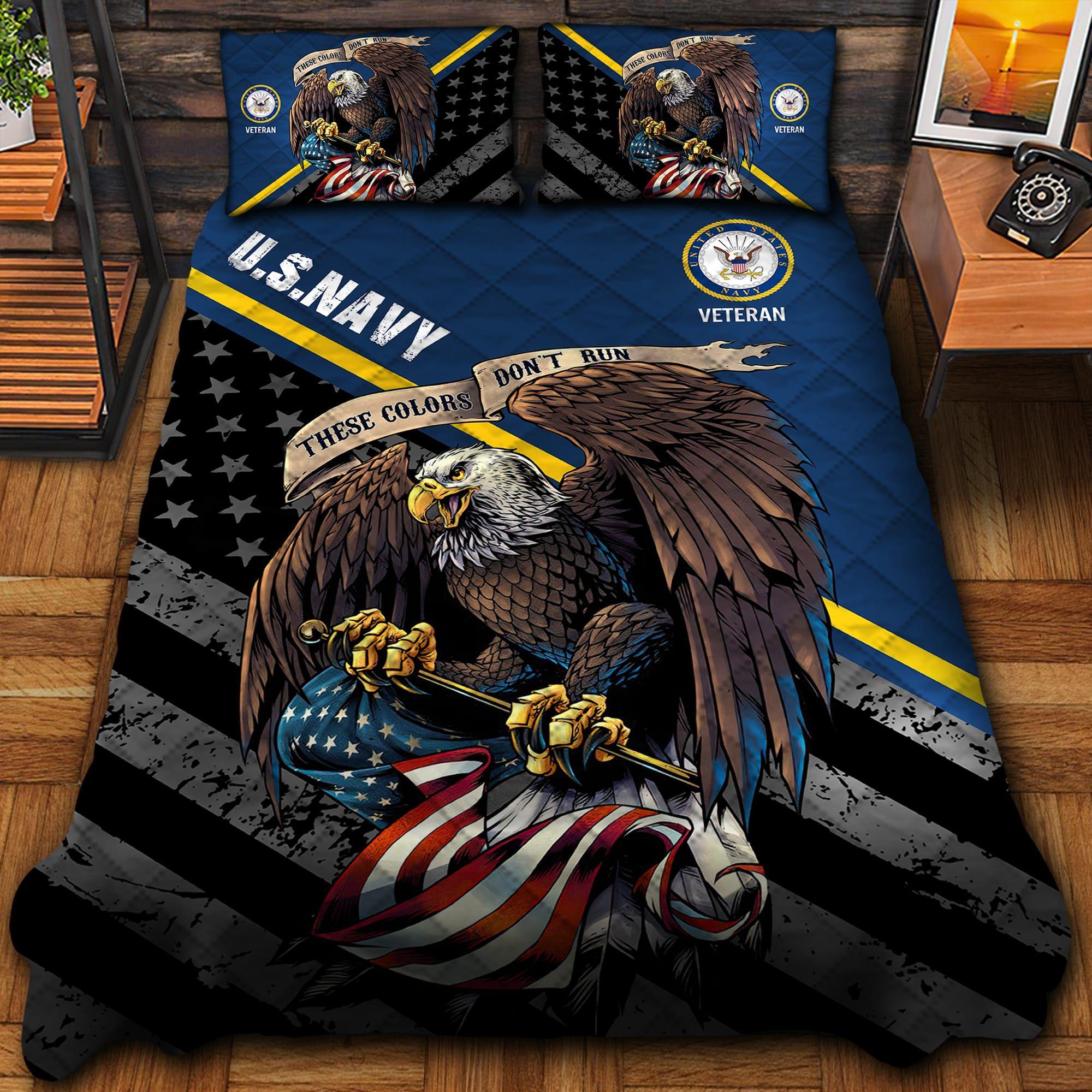 Unique US Navy Quilt Bedding Set