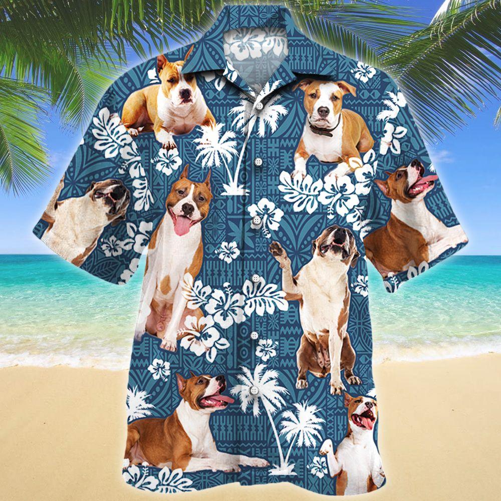 American Staffordshire Terrier Dog Lovers Blue Tribal Pattern Hawaii Shirt