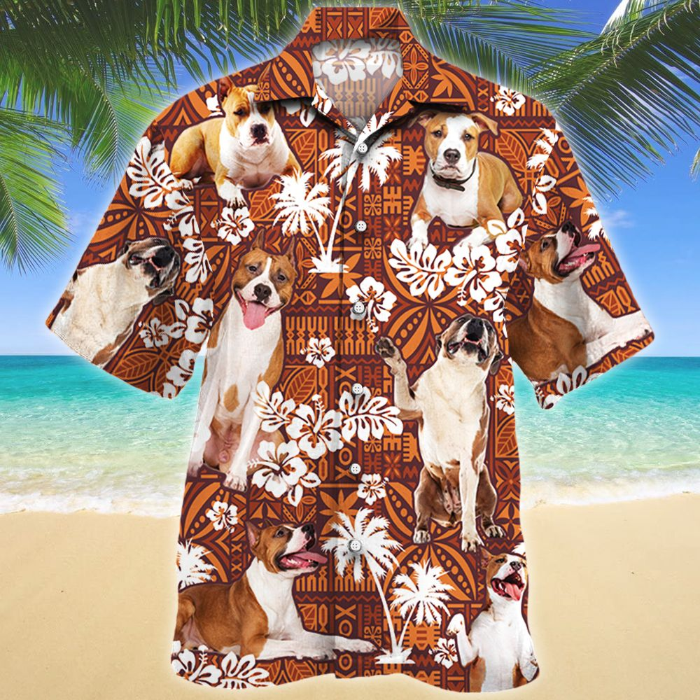 American Staffordshire Terrier Dog Lovers Red Tribal Pattern Hawaii Shirt