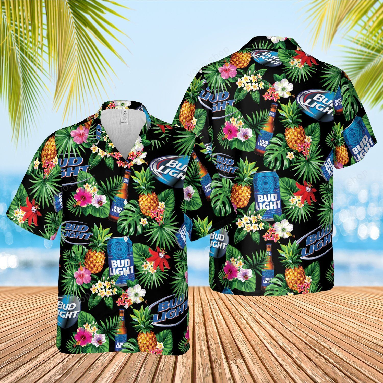 Bud Light Blue tropical flower Hawaiian Shirt and Shorts