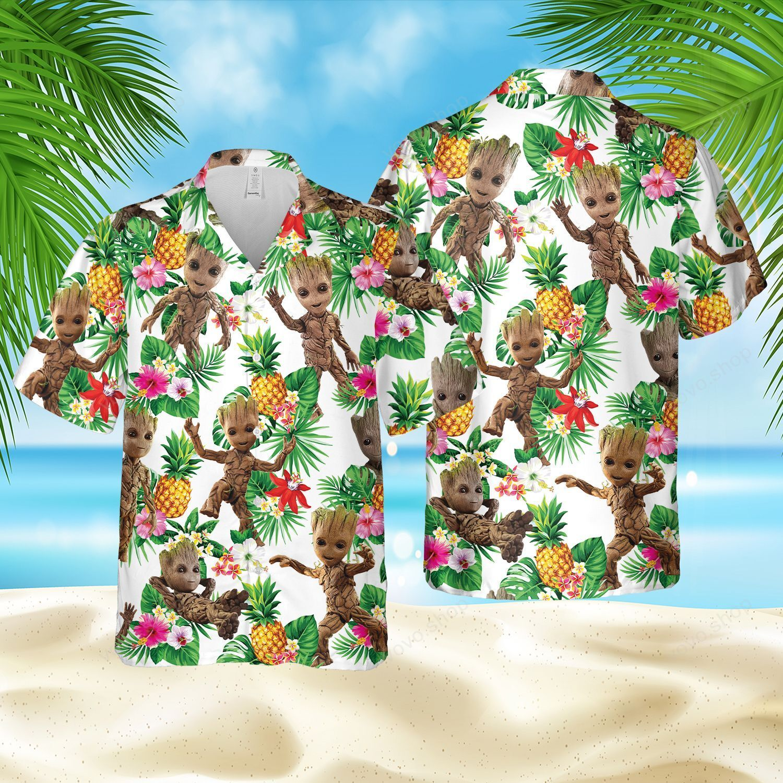 Groot Marvel Floral Hawaiian Shirt and Beach Shorts