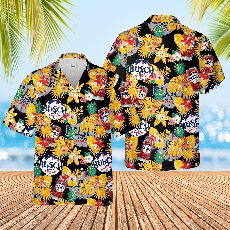 Busch Light Apple Floral Hawaiian Shirt and Beach Shorts