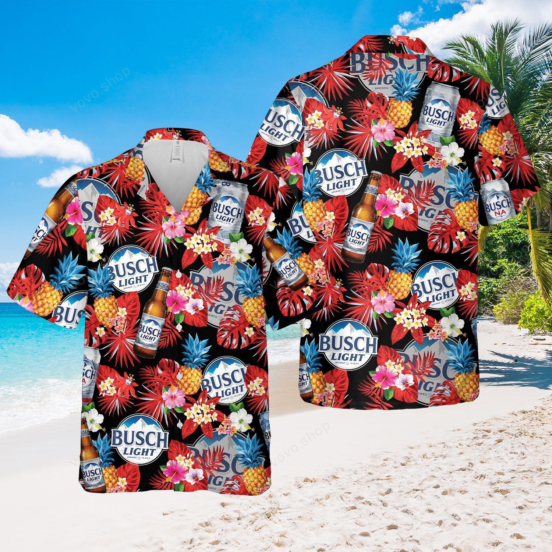 Busch Light Beer tropical flower black Hawaiian Outfit