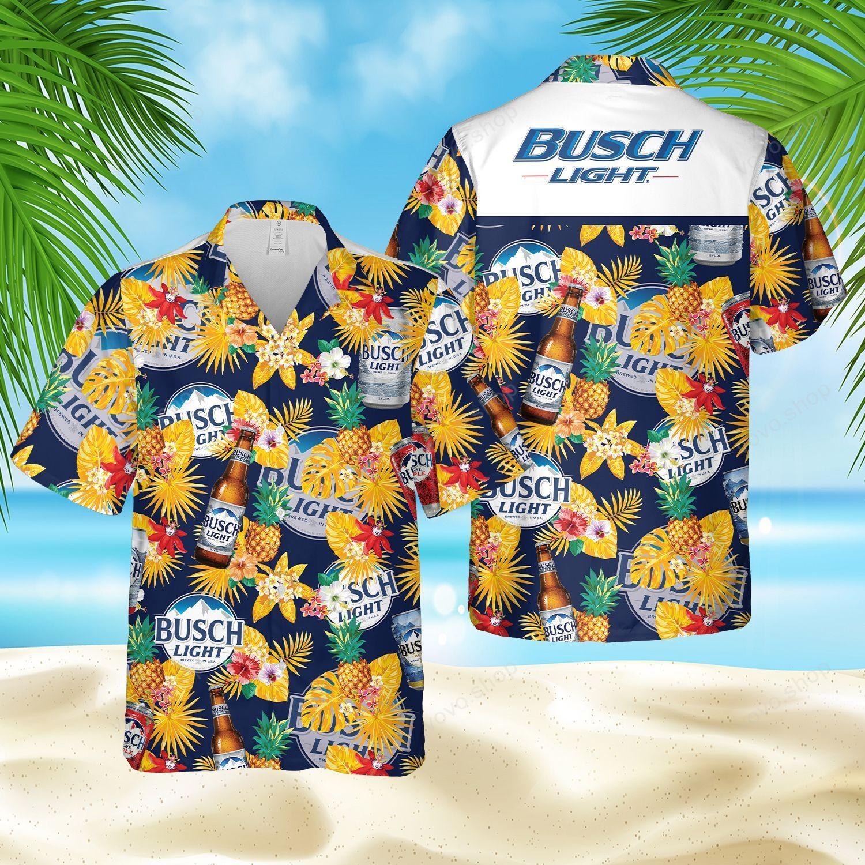Busch Light Beer Floral Hawaiian Shirt and Shorts