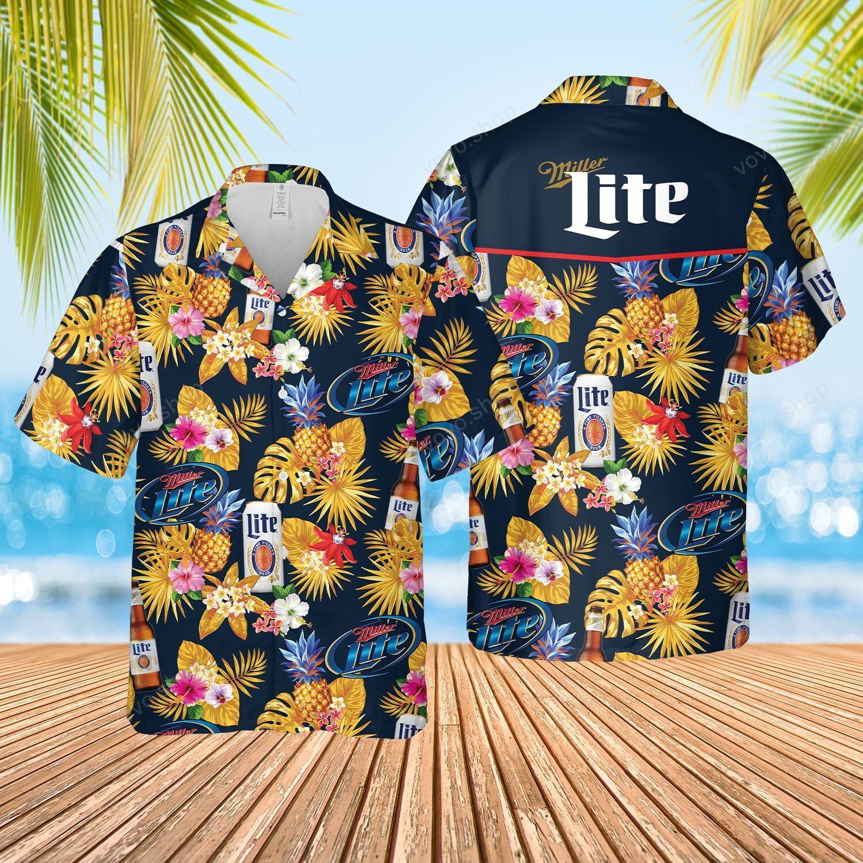 Miller Lite Beer pineapple Hawaiian Summer Shirt and Shorts
