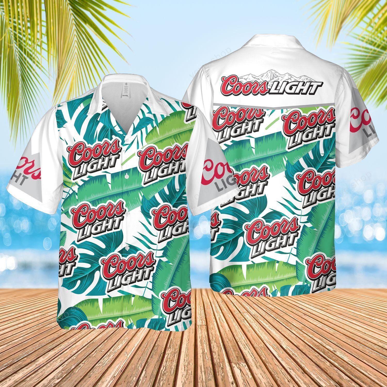 Coors Light Beer tropical leaf Hawaiian Shirt and Beach Shorts
