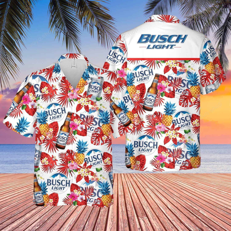 Busch Light Beer tropical flower Hawaiian Shirt and Shorts