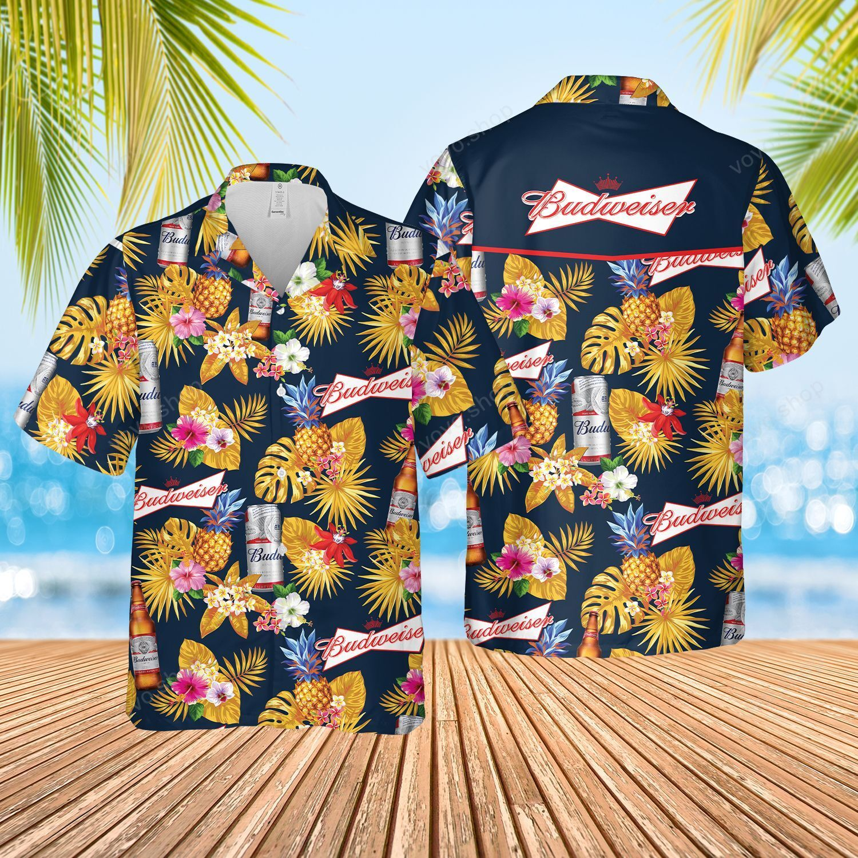 Budweiser beer tropical pineapple Hawaiian Shirt and Shorts