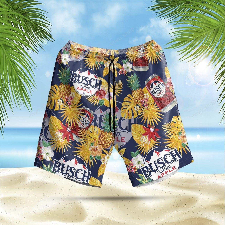 Busch Light Apple pineapple Floral Hawaiian Shirt and Beach Shorts