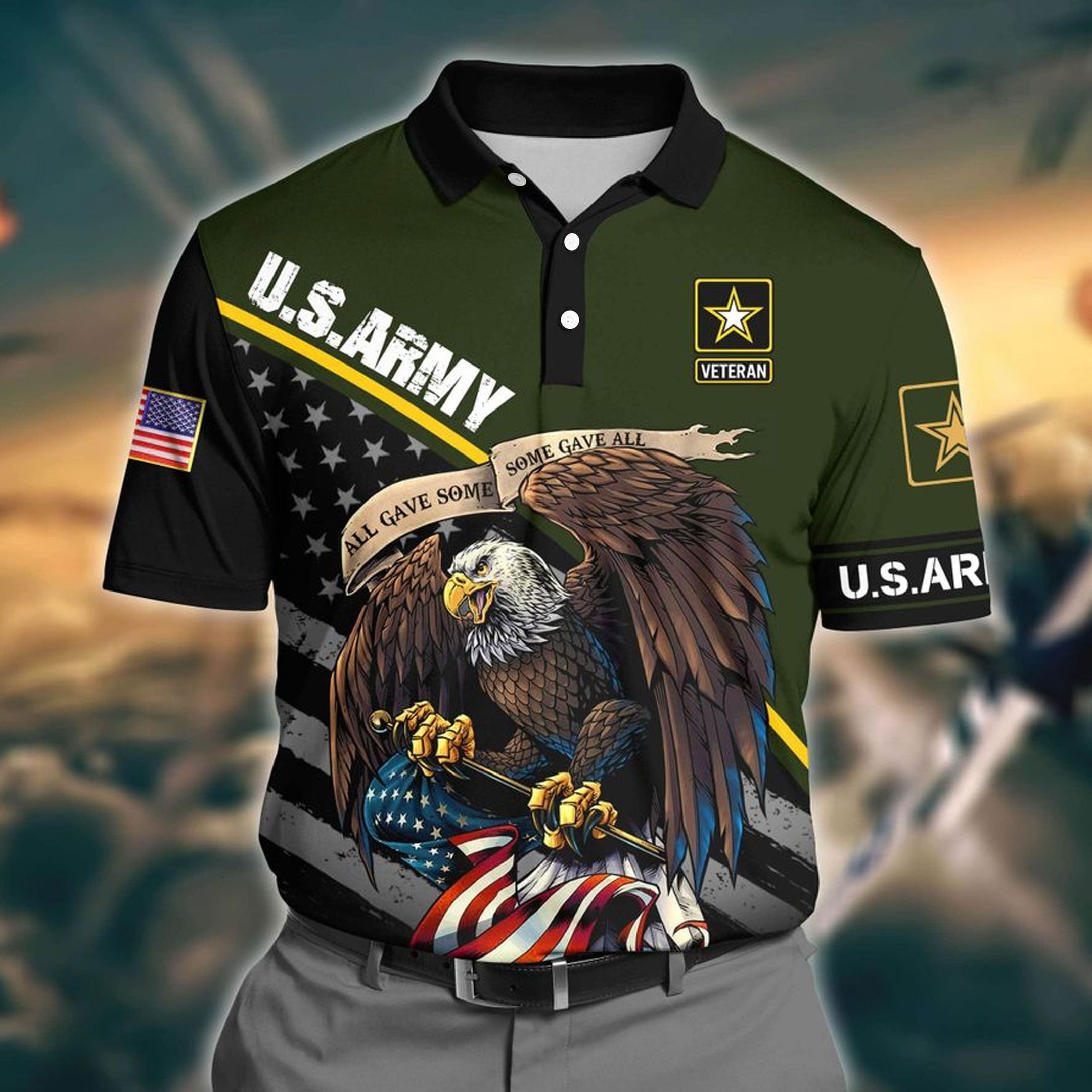 US Army Green 3D Polo shirt