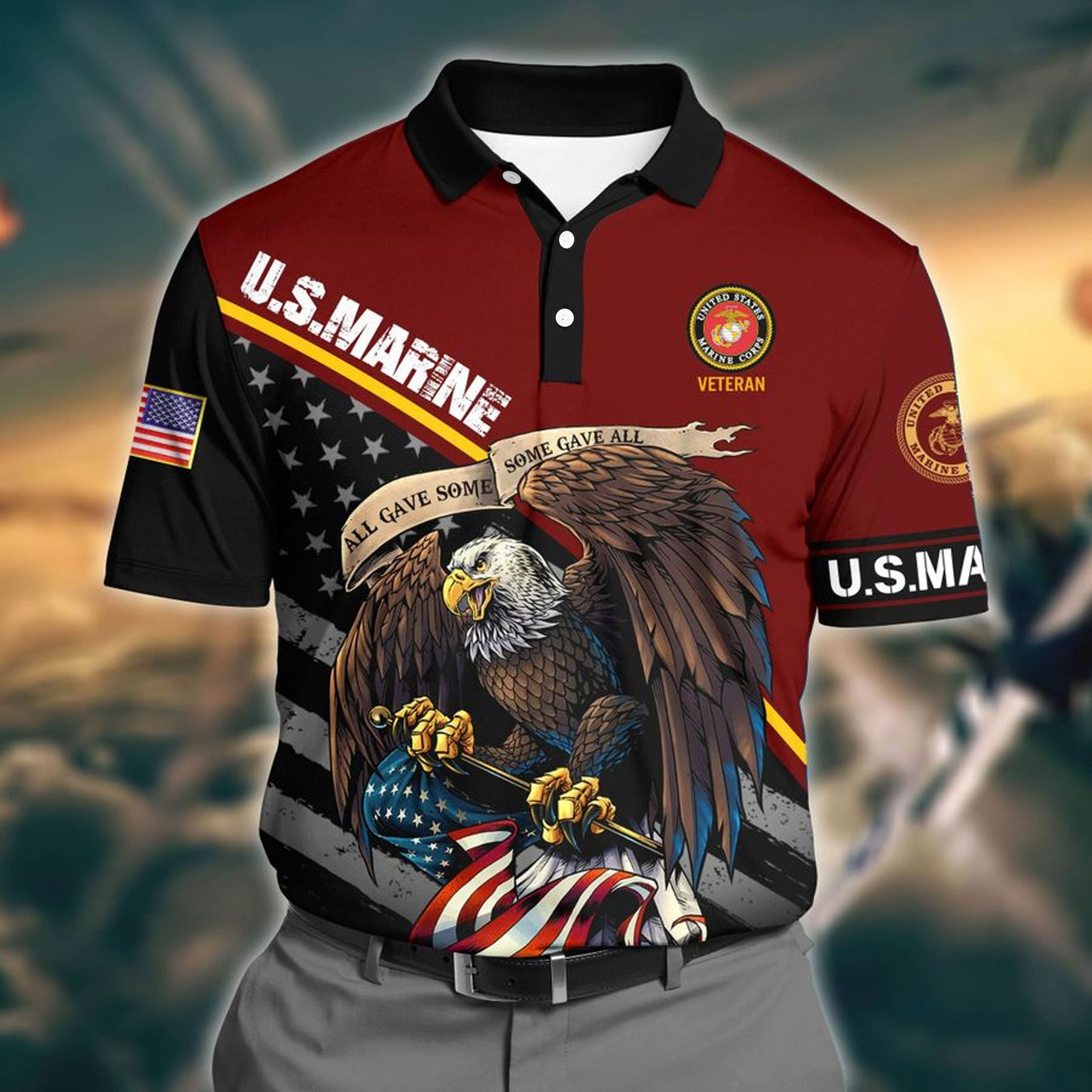 US Marine 3D Polo Shirt