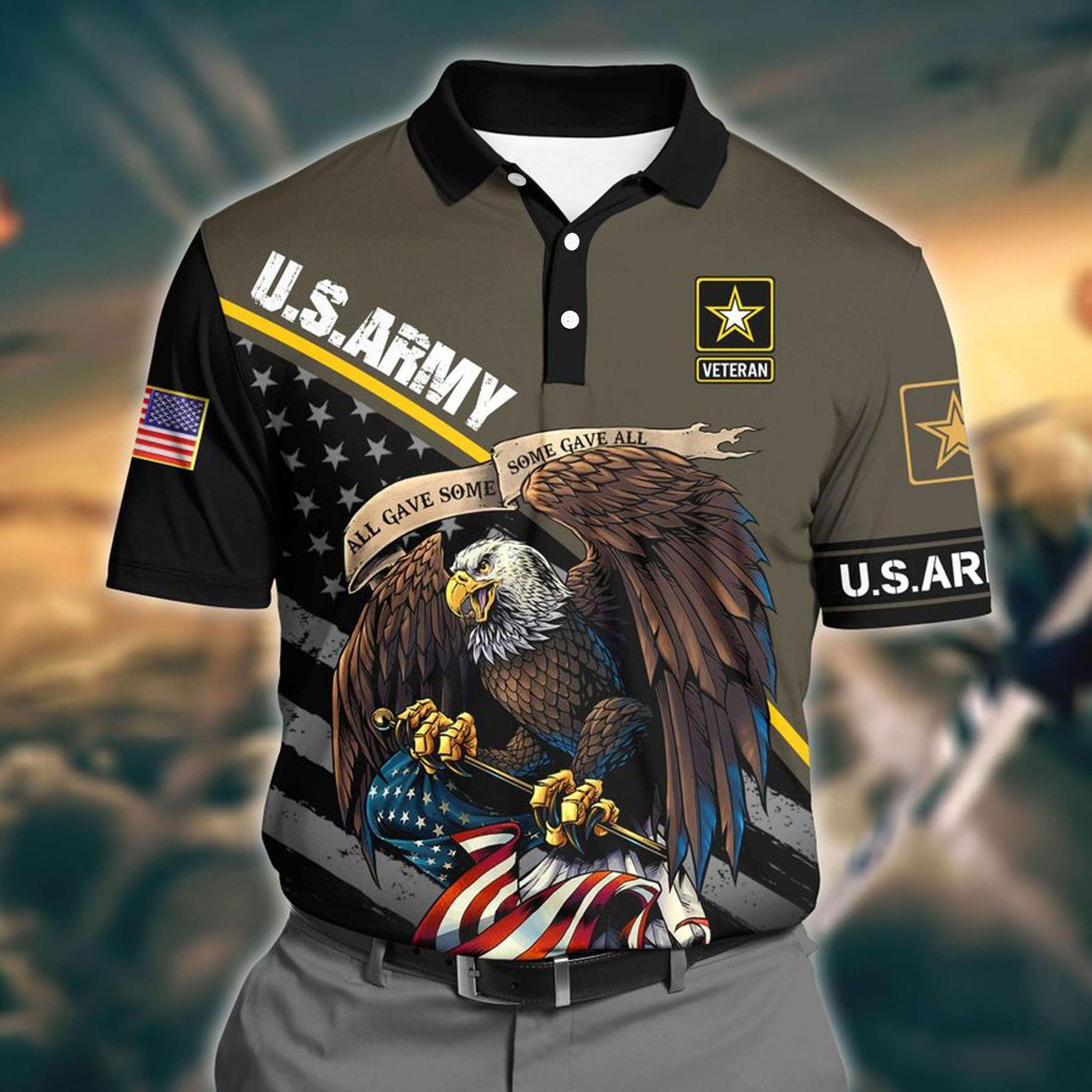 US Army Brown 3D Polo shirt